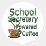 School Secretary Powered by Coffee Round Stickers