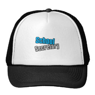 School Secretary with Blue and Gray Print Trucker Hat