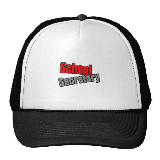 School Secretary with Red and Gray Print Trucker Hat