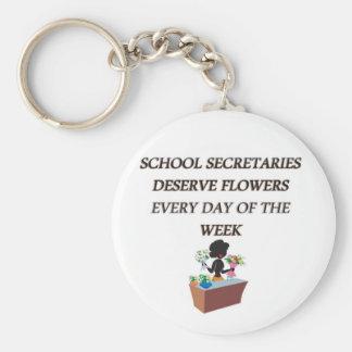 SCHOOL SECRETARYDESERVE FLOWERS BASIC ROUND BUTTON KEYCHAIN
