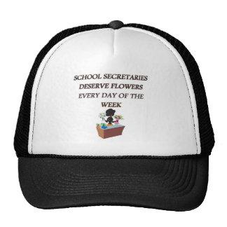SCHOOL SECRETARYDESERVE FLOWERS TRUCKER HAT