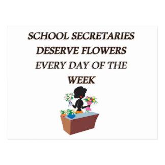 SCHOOL SECRETARYDESERVE FLOWERS POSTCARD