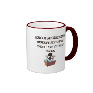 SCHOOL SECRETARYDESERVE FLOWERS RINGER COFFEE MUG
