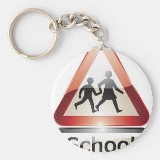 School Sign Basic Round Button Keychain