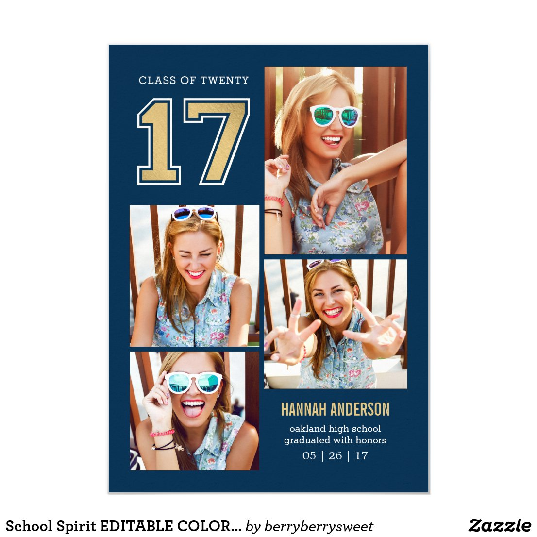 School Spirit EDITABLE COLOR Graduation Invitation