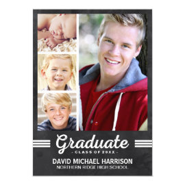 School Spirit | Multi-photo Graduation Party 5x7 Paper Invitation Card by dulceevents at Zazzle