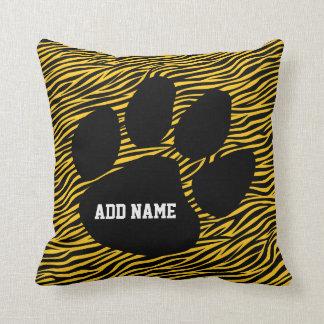 School Spirit - Tiger Paw Print and Stripes Pillow