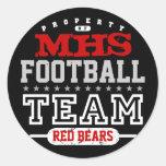 School Sport Team Round Stickers