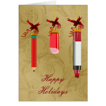 school stationery ornaments teacher Christmas Card