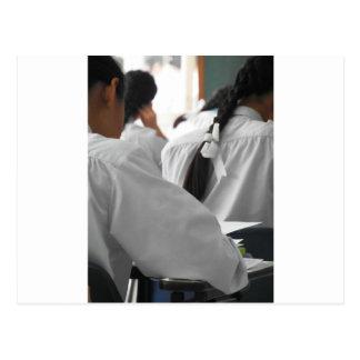 School Students in an Exam Postcard