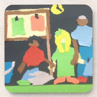 School Students Paper Collage Coaster Set
