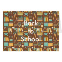 School Supplies All Over Design Card