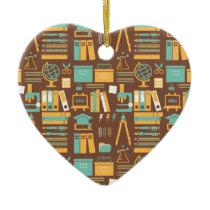 School Supplies All Over Design Ceramic Ornament