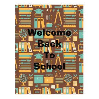 School Supplies All Over Design Postcard