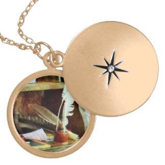 School Supplies in General Store Locket Necklace