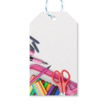 School Supplies Isolated on White Background Gift Tags