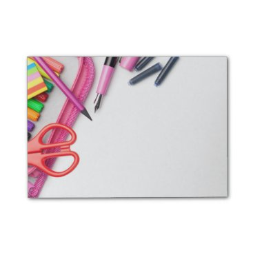 Beach Themed School Supplies Isolated on White Background Post-it® Notes