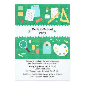 "School Supplies Party Invitation 5"" X 7"" Invitation Card"