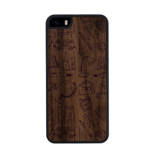 School Supplies Sketch Wood Phone Case For iPhone SE/5/5s