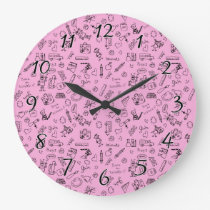 School Supplies Sketches on Pink Large Clock