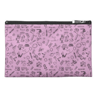 School Supplies Sketches on Pink Travel Accessories Bags