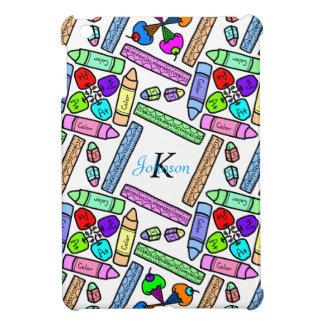 school supply art pattern personalizable iPad mini covers
