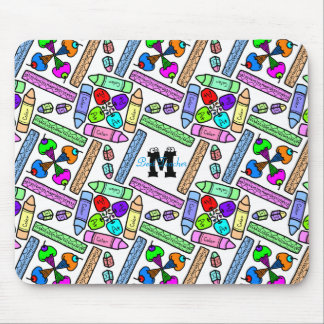 School Supply Art Pattern Personalizable Mouse Pad