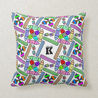 School supply art pattern personalizable throw pillow