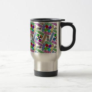 school supply art pattern personalizable travel mug