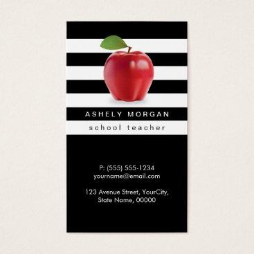Beach Themed School Teacher Apple Elegant Black White Stripes Business Card