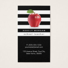 School Teacher Apple Elegant Black White Stripes Business Card at Zazzle