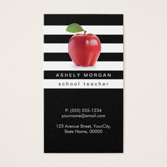 89 substitute teacher business card template business cards for school teacher apple elegant black white stripes business card reheart Images
