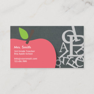 school teacher apple letters chalkboard business card - Teacher Business Cards