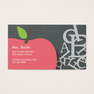 Apple business cards templates zazzle school teacher apple letters chalkboard business card fbccfo Choice Image