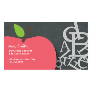 School Teacher Apple & Letters Chalkboard Double-Sided Standard Business Cards (Pack Of 100)