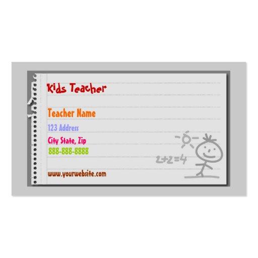School Teacher Business Cards
