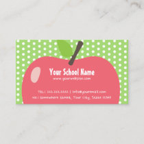 School Teacher Childcare Cute Apple Business Card