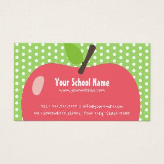 School Teacher Childcare Cute Apple Business Card