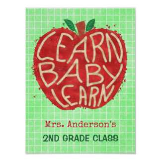 School Teacher Classroom Apple   Learn Baby   Name Poster