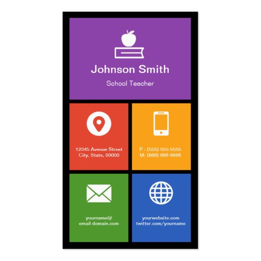 School Teacher  - Colorful Tiles Creative Business Card Template (back side)