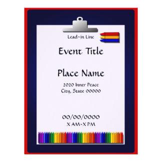 School Teacher Crayon Clipboard Event Flyer