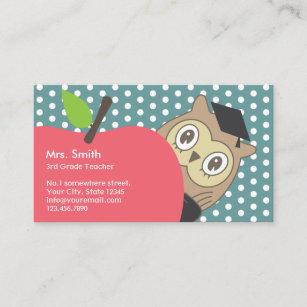 Owl business cards zazzle school teacher cute apple owl business card colourmoves