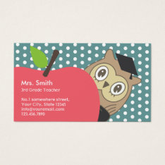 School Teacher Cute Apple & Owl Business Card at Zazzle
