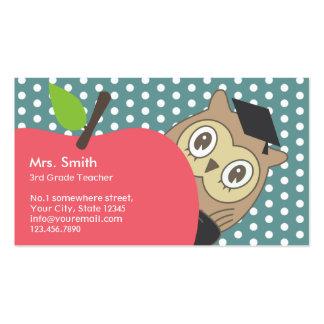 School Teacher Cute Apple & Owl Double-Sided Standard Business Cards (Pack Of 100)