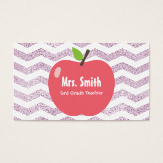 School Teacher Girly Chevron Stripes Big Apple Business Card
