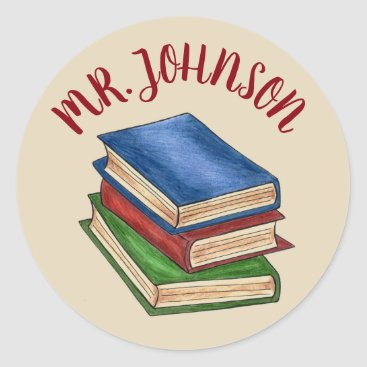USA Themed School Teacher Library Book Stack Personalized Classic Round Sticker