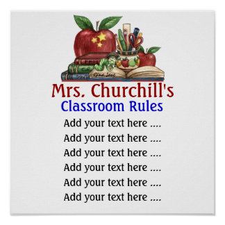 School Teacher s Classroom Rules by SRF Poster