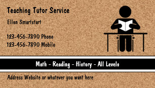 School math teacher business cards templates zazzle school teacher tutoring business cards reheart Image collections