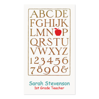 School Teacher Vintage Alphabet Double-Sided Standard Business Cards (Pack Of 100)