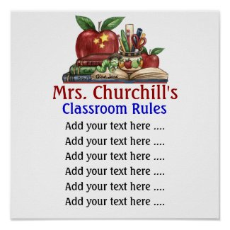 School Teacher's Classroom Rules by SRF print